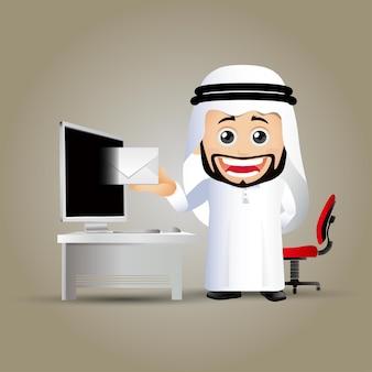 Personagens de empresários árabes em diferentes poses