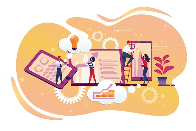 Personagens de empresários comunicando no escritório