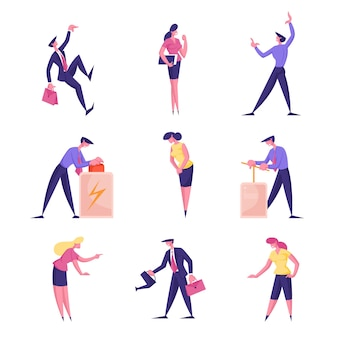Personagens de empresários masculinos e femininos apertando o botão vermelho