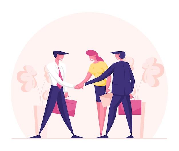 Personagens de empresários se unem de braços dados