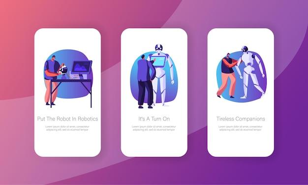 Personagens de engenheiros, criação e programação de robôs, página de aplicativo móvel conjunto de tela a bordo.