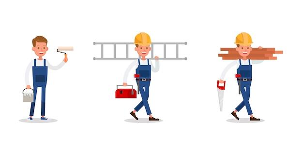 Personagens de equipe de construção. inclua pintor e carpinteiro.
