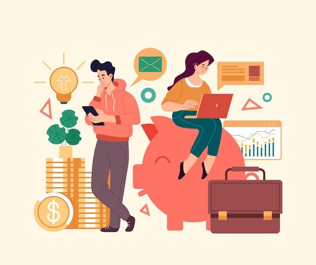 Personagens de equipe de pessoas de negócios trabalhando no projeto de negócios. ilustração de design gráfico de estilo simples e moderno