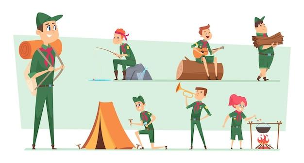 Personagens de escoteiros. campistas de verão, meninos e meninas, rangers juniores agrupam batedores de sobrevivência com mochilas vetoriais para crianças