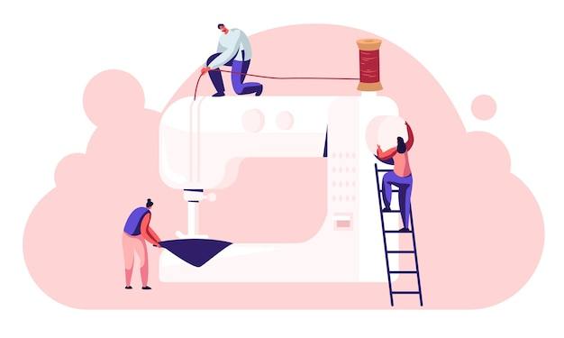 Personagens de esgoto em processo de criação de vestimentas, costureiras costureiras trabalham em máquina de costura em ateliê ou fábrica de tecidos, fabricação de roupas têxteis industriais