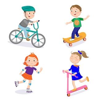 Personagens de esportes de crianças. corrida de ciclismo, skate, montando em rolos e scooter