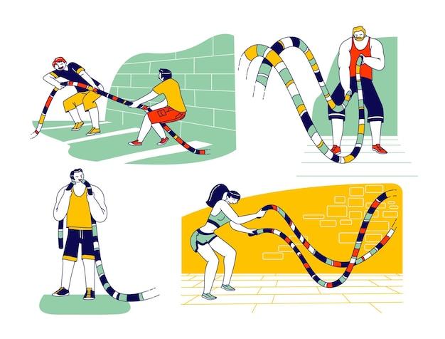 Personagens de esportistas e mulheres do esporte com corda de batalha, fazendo treinamento de aptidão funcional no ginásio. homens, atividade ou competição de exercício de cabo de guerra, esporte de musculação. ilustração em vetor de pessoas lineares