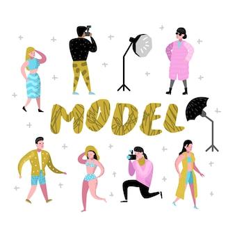 Personagens de estúdio fotográfico definidos com fotógrafo e modelos