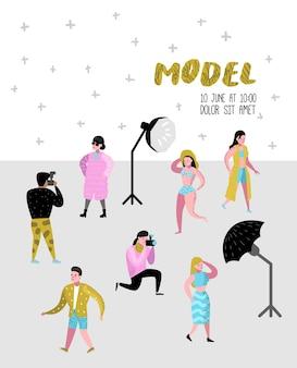 Personagens de estúdio fotográfico definidos com fotógrafo e pôster de modelos