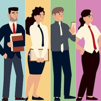 Personagens de executivos com gravata, funcionários de escritório