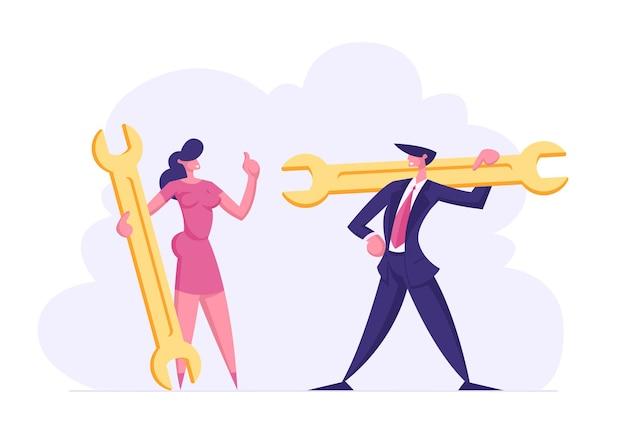 Personagens de executivos com ilustração de chave inglesa
