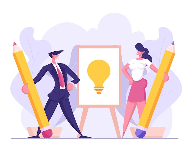 Personagens de executivos desenham lâmpada com ilustração a lápis
