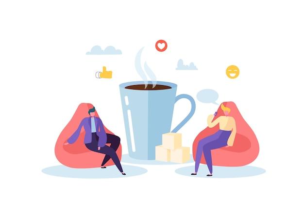 Personagens de executivos na pausa para o café