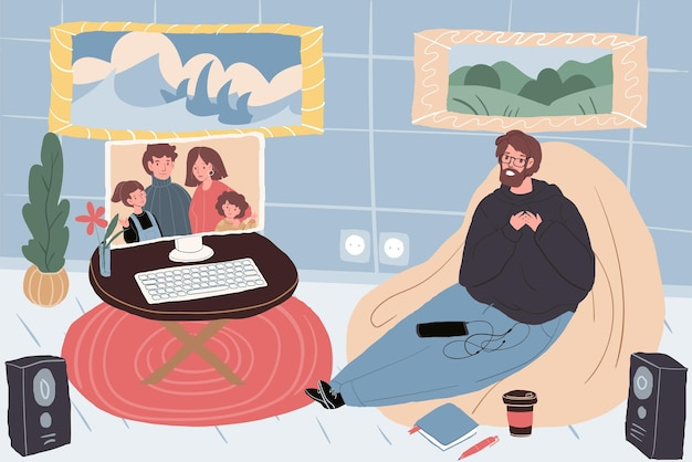 Personagens de família de desenhos animados planos de vetor na tela do monitor conversam com amigos, parentes, pais e filhos em uma comunicação de videoconferência online. relações familiares saudáveis, página de destino