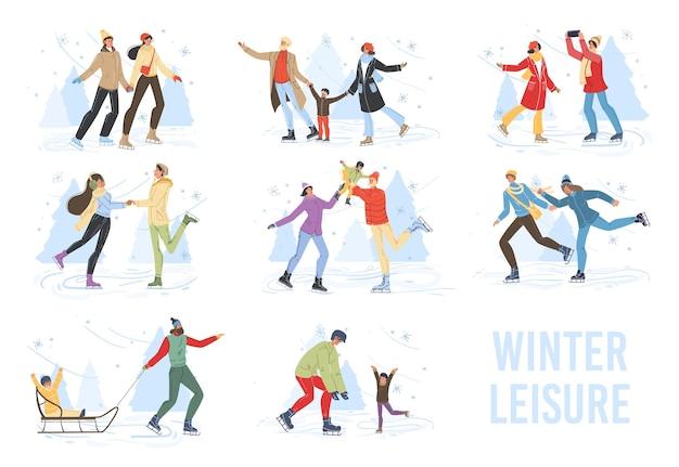 Personagens de família em desenhos animados fazendo atividades esportivas ao ar livre no inverno