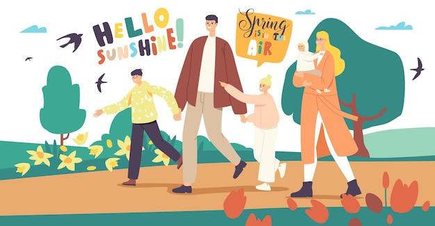 Personagens de família feliz caminhando no spring city park. pai, mãe com bebê, filho e filha passam algum tempo juntos ao ar livre, fim de semana ou férias. lazer ativo. ilustração em vetor desenho animado