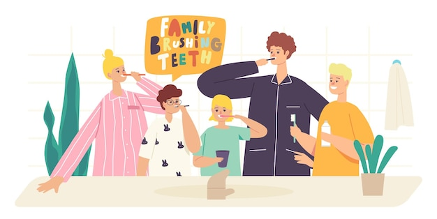 Personagens de família feliz escovam os dentes. pais e filhos, assistência odontológica, higiene oral no banheiro. mãe, pai e filhos com escova de dentes e pasta de escovar os dentes. ilustração em vetor desenho animado