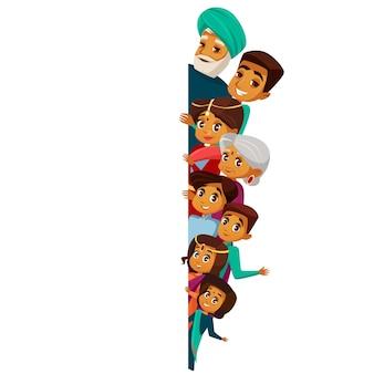 Personagens de família indiana dos desenhos animados, espiando por trás do espaço em branco vazio.