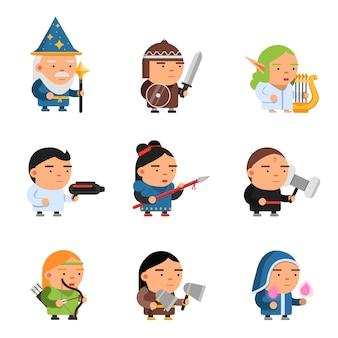 Personagens de fantasia. 2d jogo sprite heróis masculinos e femininos computador soldados rpg atirador mascotes soldados cavaleiros bruxos vetor