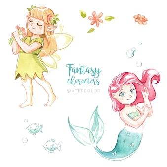 Personagens de fantasia em aquarela