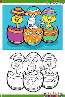 Personagens de férias da páscoa para colorir página de livro