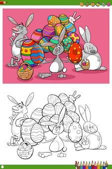 Personagens de férias de coelhinhos da páscoa para colorir página de livro