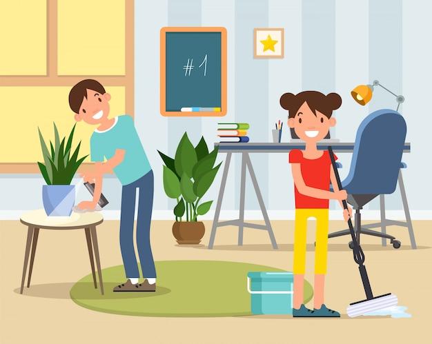 Personagens de filho e filha limpando o quarto de crianças,