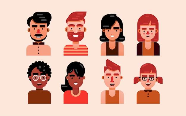 Personagens de flat design - retratos de flat art