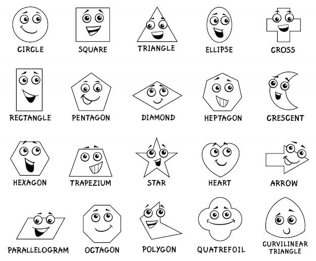 Personagens de formas geométricas básicas de desenhos animados