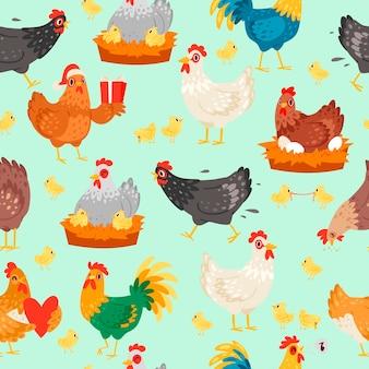 Personagens de frango em poses diferentes. galinha e galo sem costura padrão vector