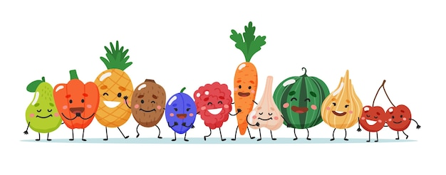 Personagens de frutas e vegetais.