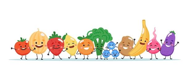 Personagens de frutas e vegetais.