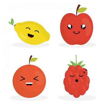Personagens de frutas frescas kawaii