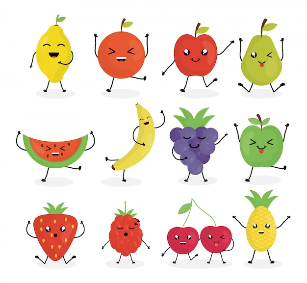 Personagens de frutas frescas kawaii