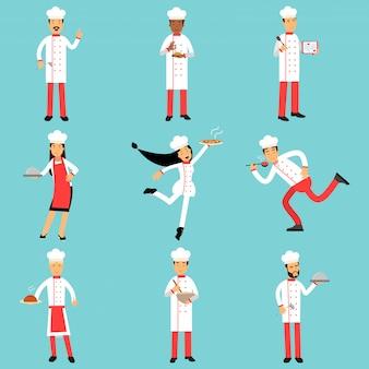 Personagens de funcionários de cozinha profissional no trabalho. conjunto de chefs e padeiros de ilustrações coloridas