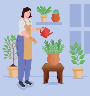 Personagens de garota plantando