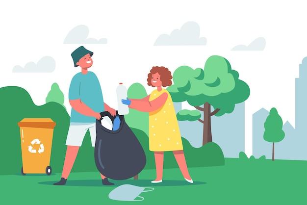Personagens de garotada e menino coletam lixo em um saco de lixo e na lixeira para reciclagem no jardim. proteção ecológica,
