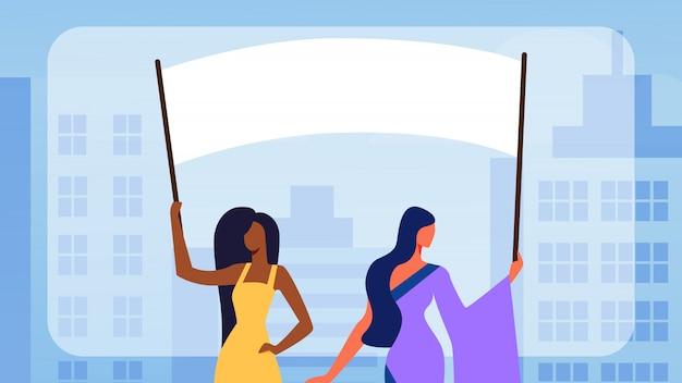 Personagens de garotas segurando bandeiras vazias do voto, motim