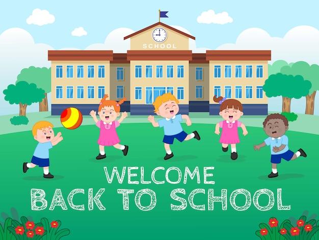 Personagens de garotos e garotas vestindo uniforme e brincando no gramado da escola