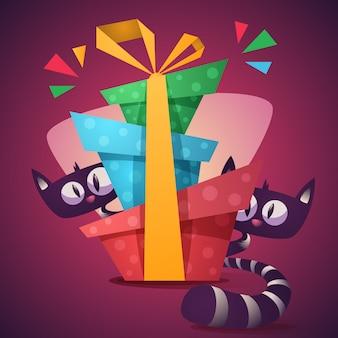 Personagens de gatinho fofo com presente de cor