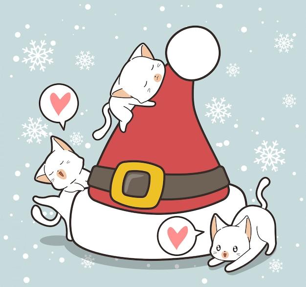 Personagens de gato adorável e chapéu grande no dia de natal