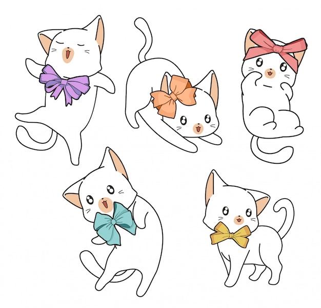 Personagens de gato adorável mão desenhada com um laço