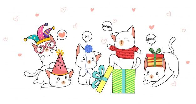 Personagens de gato adorável mão desenhada no estilo cartoon