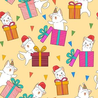 Personagens de gato adorável sem costura e caixas de presente no padrão de festa