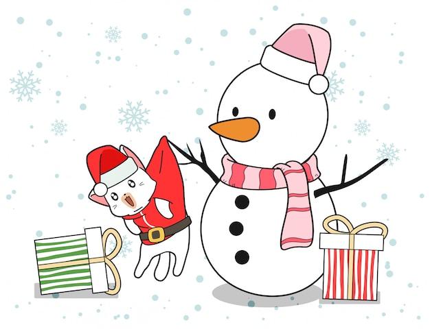 Personagens de gato boneco de neve e papai noel com presentes no dia de natal