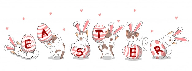 Personagens de gato coelhinho kawaii no dia do ovo de páscoa