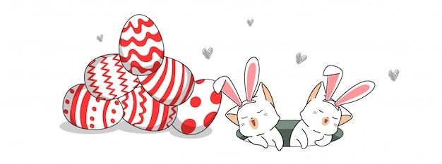 Personagens de gato coelho com ovos no dia de ovo de páscoa