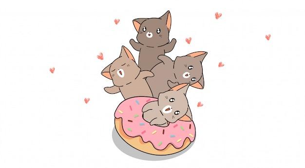 Personagens de gato com rosquinha rosa