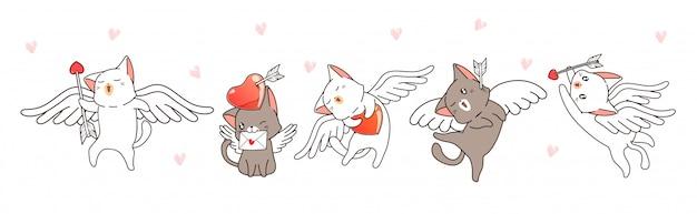 Personagens de gato cupido com corações e flechas