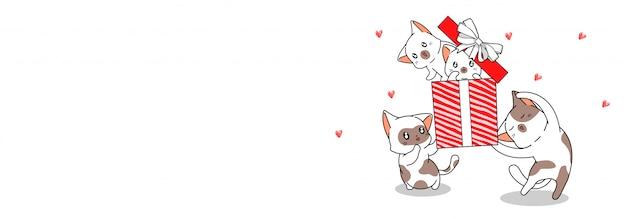 Personagens de gato de banner estão parabenizando por feliz aniversário
